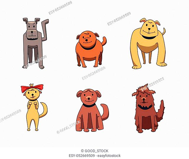 Set of funny smiling dog cartoon characters. Dogs of different breeds. Flat vector illustration. Isolated on white background