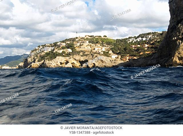 Spain, Mediterranean Sea, Balearic Islands, Mallorca, urbanized coast in Puerto de Andratx