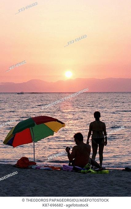 Sunset at Kalogeras beach, Elafonissos island, Greece