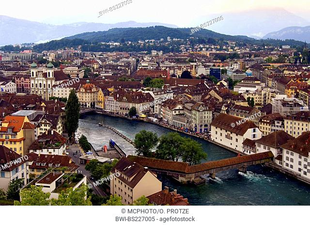 view over the historical city of Lucerne at the Lake Lucerne in Central Switzerland, In the background the mountain range of the Swiss Alps, Switzerland