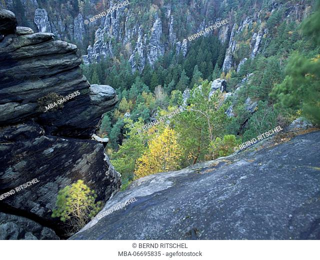 Autumn landscape at the Bastei, Saxon Switzerland, Elbe Sandstone Mountains, Germany