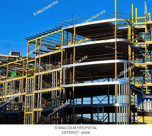 Steel framework, flats under construction