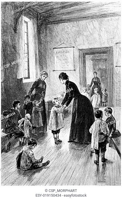 Mrs. Branican came every day to visit, vintage engraving