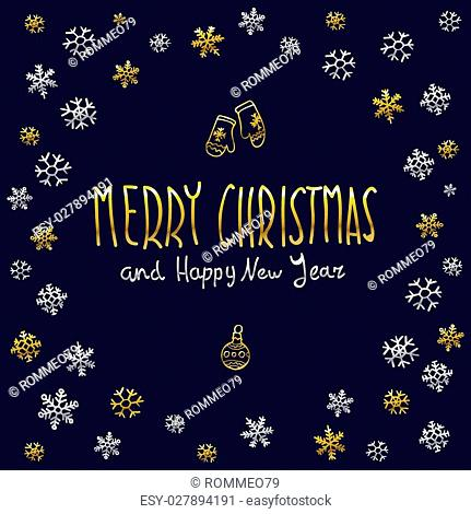golden glowing Merry Christmas and happy New Year 2016 lettering collection. Vector illustration art