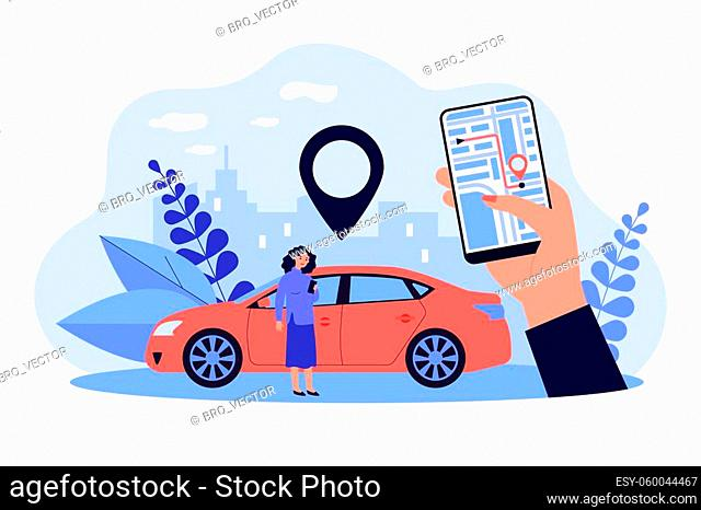Woman using GPS system in app on her mobile phone isolated flat vector illustration. Cartoon hand holding smartphone with city map and location pin
