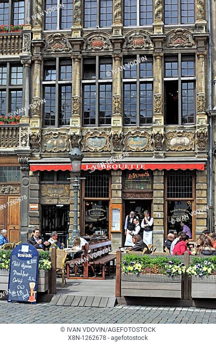 Facades on the Grand Place Main Square, Brussels, Belgium