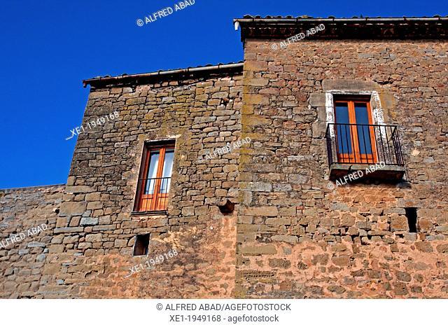 building with balconies, Palou, La Segarra, Catalonia, Spain