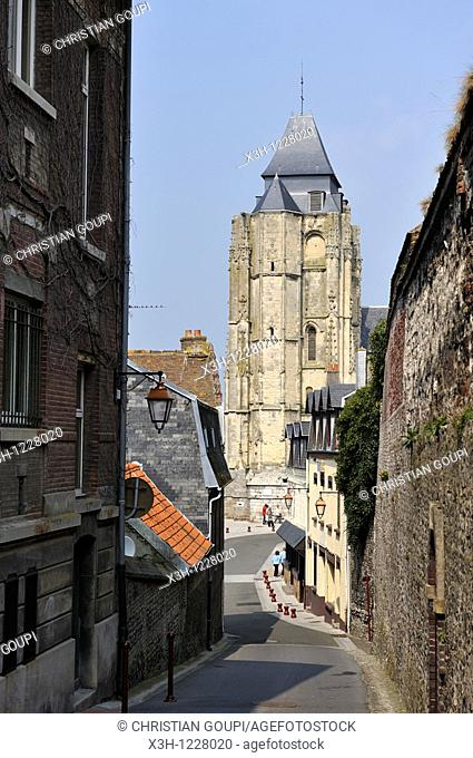 bell tower of the Saint-Jacques church, Le Treport, Seine-Maritime department, Haute-Normandie region, northern France, Europe