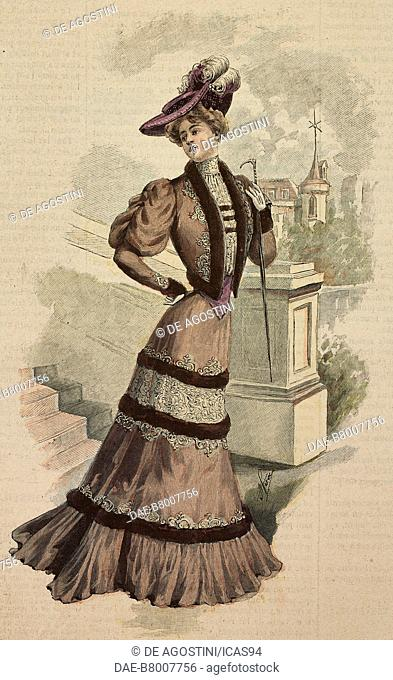 Woman wearing a silk Drap afternoon dress with lace and mink inserts and a cloth hat with feathers, creation by Mademoiselle Louise Piret