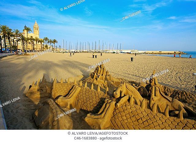 Beach and Church of Sant Bartomeu  Sitges  Barcelona province, Spain