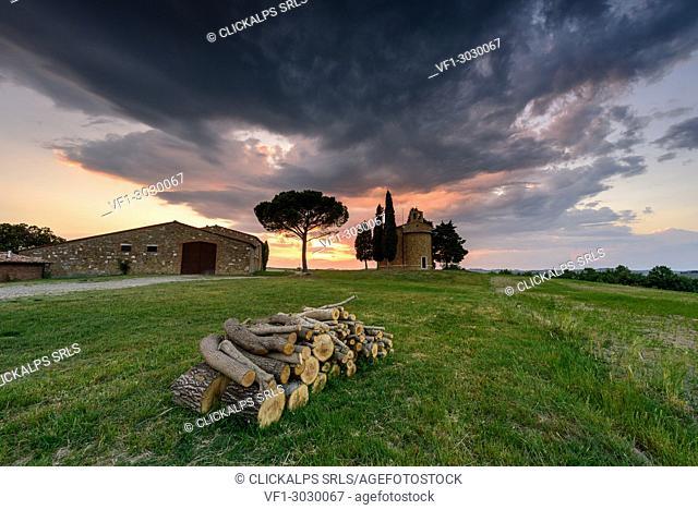 Church Vitaleta at sunset, Orcia Valley, Siena district, Tuscany, Italy
