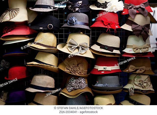 Colourful Hats on the Chatuchak Market in Bangkok
