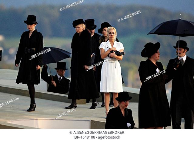 Carin Lavey performing the role of Annemarie, opening scene at a funeral, Daellebach Kari - the Musical, Thun Festival, Thun, canton of Bern, Switzerland
