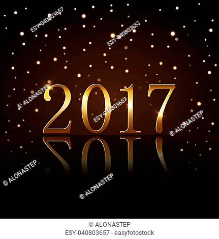 Happy New Year background with magic gold rain. Golden numbers 2017. Christmas design light, vibrant, glow and sparkle, glitter