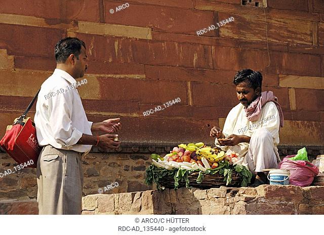 Fruit seller at the Jami Masjid Mosque Fatehpur Sikri Uttar Pradesh India Dargah Mosque