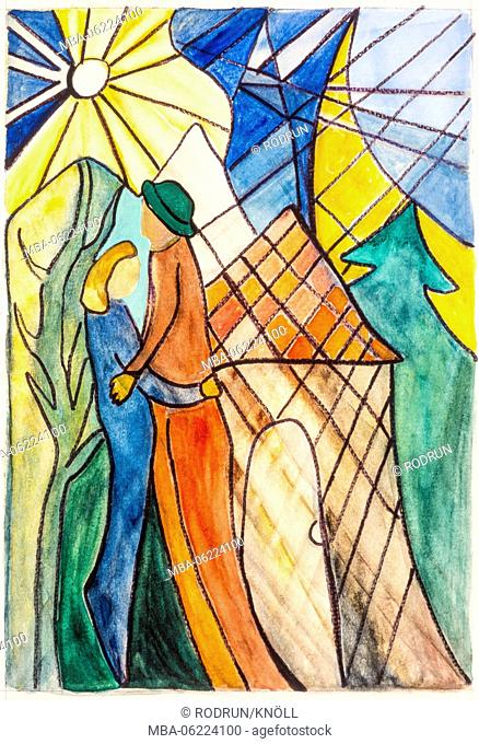 Paintings by Gisela Oberst, couple, embracing