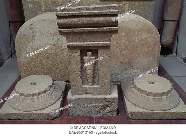 Stele with stylized image from the Tophet sacred area, ancient city of Motya, San Pantaleo Island, Marsala, Sicily, Italy