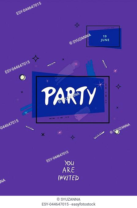 Party banner. Vertical event flyer for holiday desjgn with geometric composition and decorative elements. Dark card for social media invitation