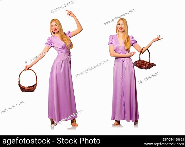 Woman with fruit basket isolated on white