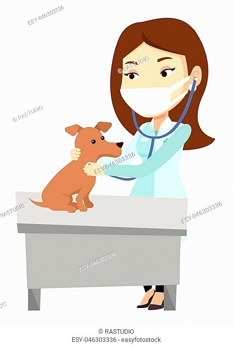 Caucasian veterinarian examining dog in hospital. Veterinarian checking heartbeat of a dog with stethoscope. Medicine and pet care concept