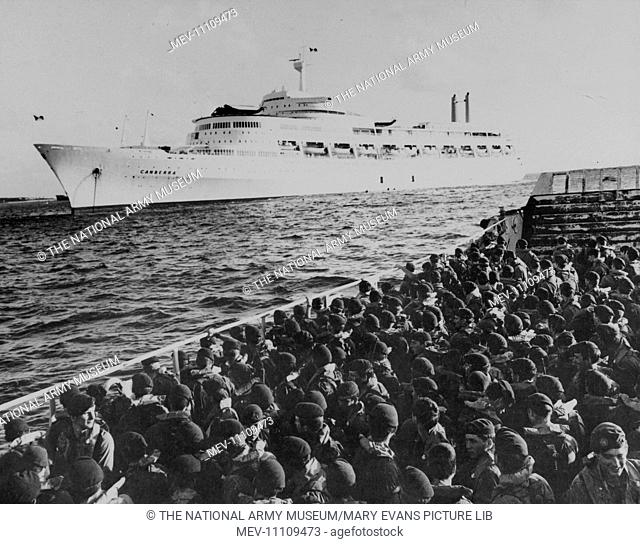 Photograph showing Marines of 40 Commando leaving the ?Canberra? for training on Ascension Island, South Atlantic (Falklands War) (1982), April 1982