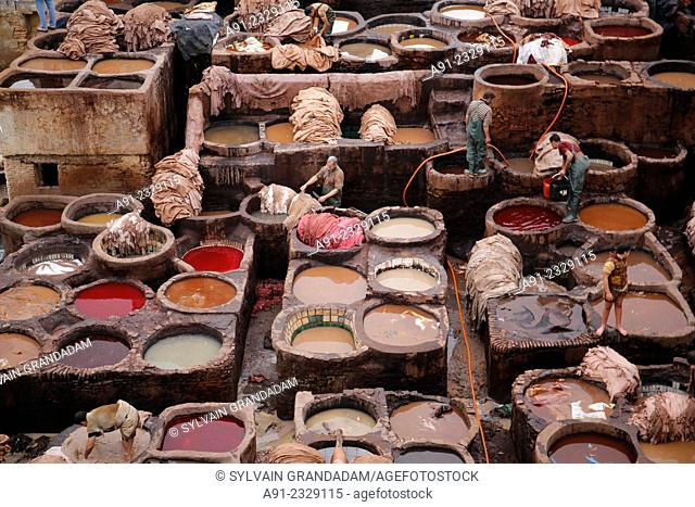 North Africa, Morocco, City of Fez (Fes), Medina, Chouara tanners quarter
