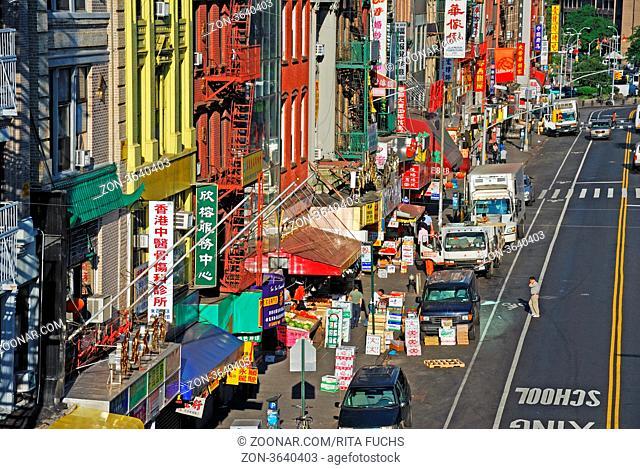 Straße in Chinatown, New York City, USA