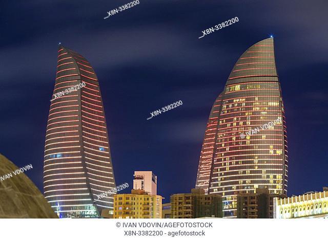 Flame Towers skyscrapers at night, Baku, Azerbaijan