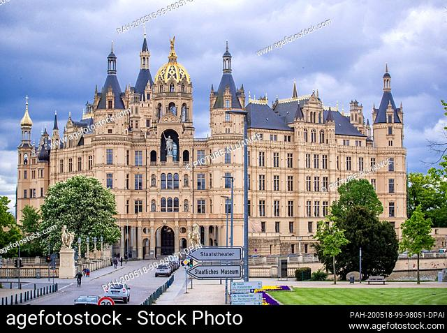 13 May 2020, Mecklenburg-Western Pomerania, Schwerin: The main portal of Schwerin Castle. Since 1990, more than 120 million euros have been invested in the...