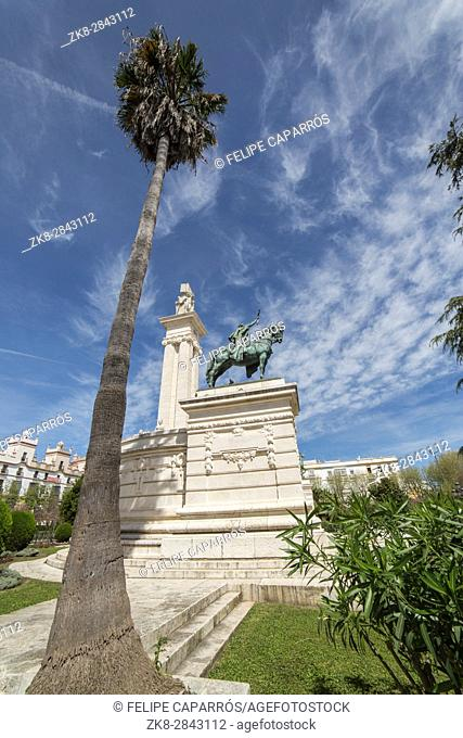 Cadiz Spain- April 1: Monument to the Constitution of 1812, panoramic view, Cadiz, Andalusia, Spain