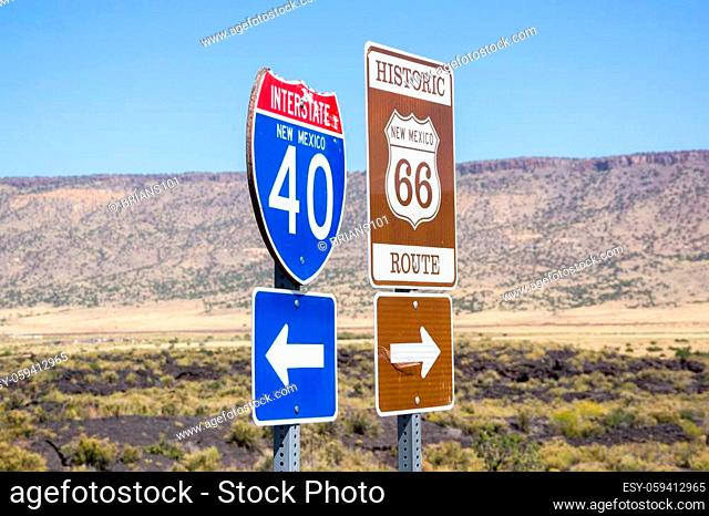 Combined sign Interstate I40 to left Historic Route 66 to right New Mexico, USA