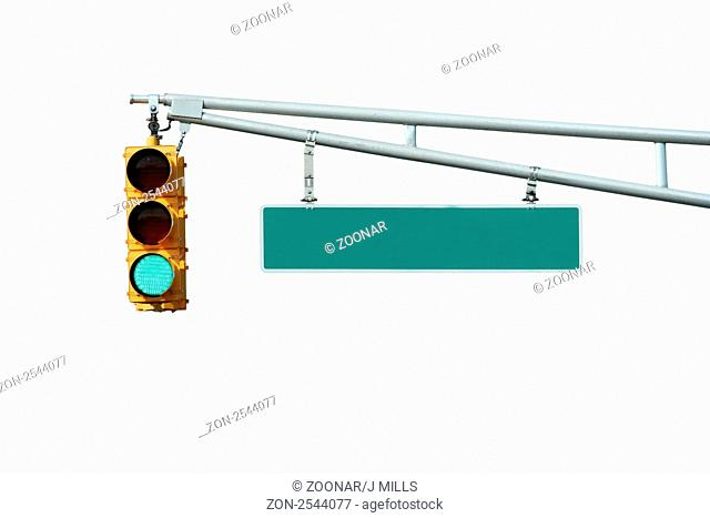Isolated Green traffic signal light with sign on white