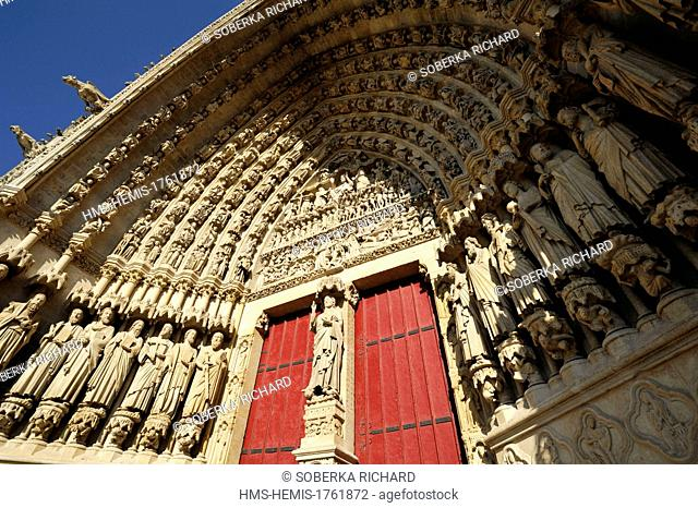 France, Somme, Amiens, Notre Dame Cathedral of Amiens listed as World Heritage by UNESCO, portal of Judgement day