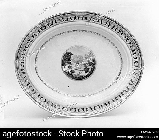 Platter. Date: 1800-1830; Geography: Made in China; Culture: Chinese; Medium: Porcelain; Dimensions: 2 1/4 x 15 13/16 x 13 1/8 in. (5.7 x 40.2 x 33