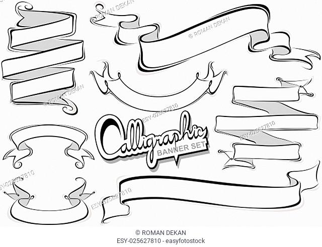 Calligraphic Banner Collection - Design Elements Illustration, Vector