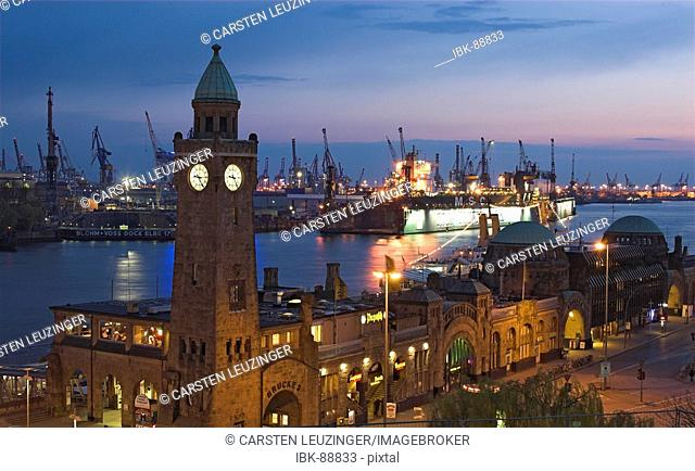 Landungsbruecken at Hamburg Harbour at night, Hamburg, Germany