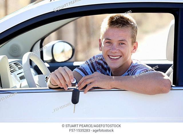 Young male learner driver