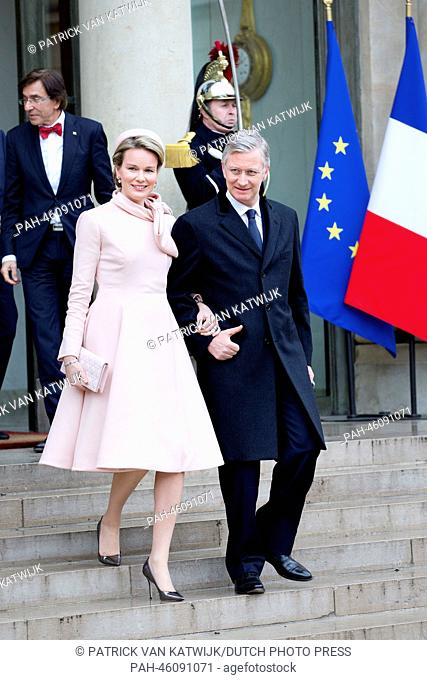 King Philippe (Filip) and Queen Mathilde of Belgium visit President Hollande of France at the Elysee palace in Paris, France, 6 February 2014