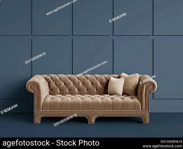 Classic tufted sofa in empty room with grey walls. Digital Illustration. 3d rendering. Minimal concept