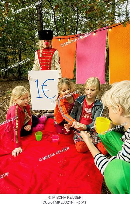 Children selling self-made drinks