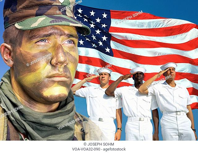 Digital composite: American Soldier, Sailors and American flag