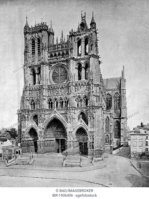 Early autotype of the Cathedral of Amiens, France, 1880