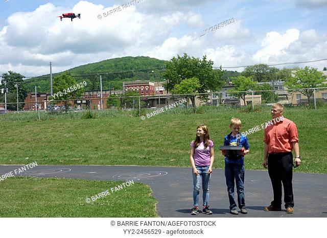 Students Flying Drone, Wellsville, New York, United States