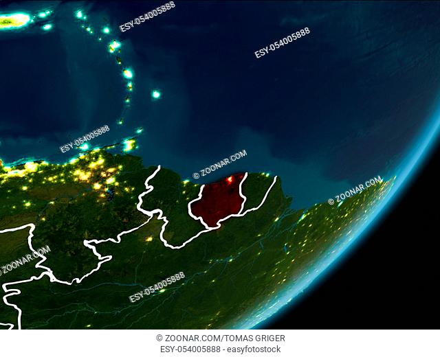 Suriname as seen from Earth?s orbit on planet Earth at night highlighted in red with visible borders and city lights. 3D illustration