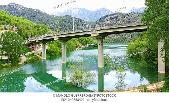 Motorway bridge over the reservoir of La Baells, Cercs, Barcelona, Catalunya, Spain