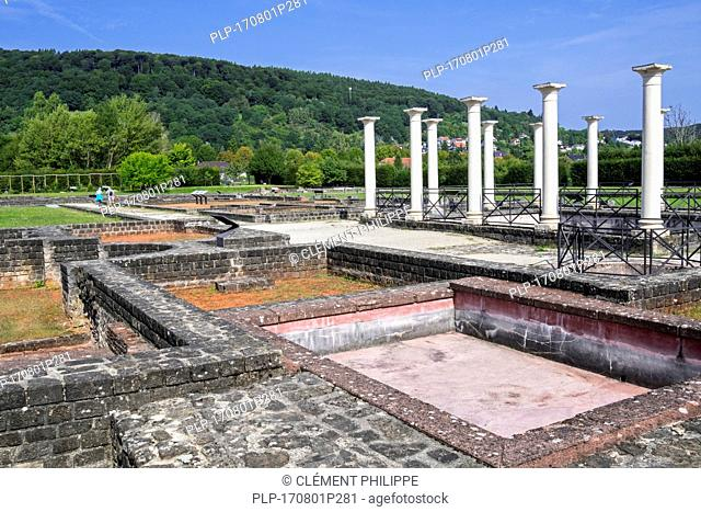 Archeological site showing remains of Roman villa / Gallo-Roman manor house / palace at Echternach, Luxembourg
