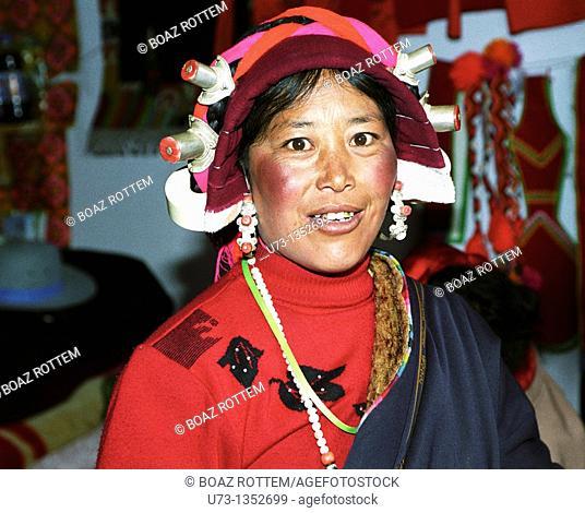 Portrait of a Tibetan woman taken in Eastern Tibet