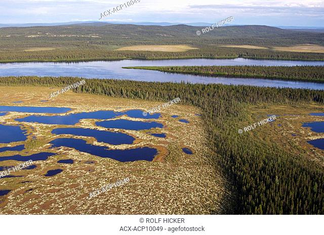 Aerial view of the scenery of the wilderness, Southern Labrador, Newfoundland & Labrador, Canada