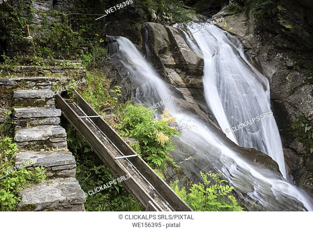 The double waterfall near the Frasco mill, on the river Efra in the town of Frasco, Valle Verzasca, Canton Ticino, Switzerland