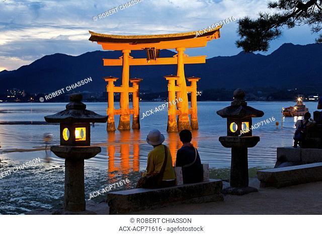 Iconic torii gate in a small bay off Miyajima Island, Japan
